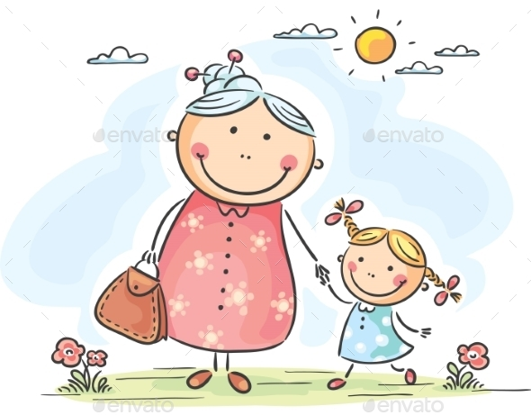 Girl and her Granny on a Walk - People Characters