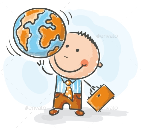 Businessman holding the Globe - Business Conceptual