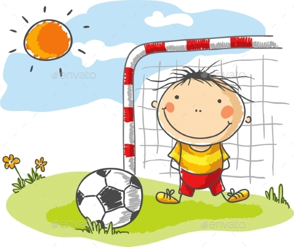 Boy playing Football as a Goalkeeper - People Characters