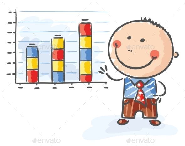 Businessman with a Growing Chart - Business Conceptual
