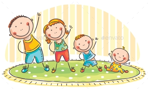 Family doing Morning Exercises - Sports/Activity Conceptual