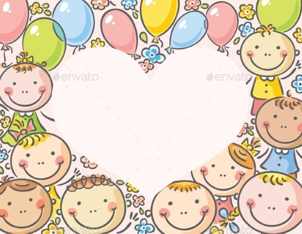 Heart-Shaped Frame with Kids - Backgrounds Decorative