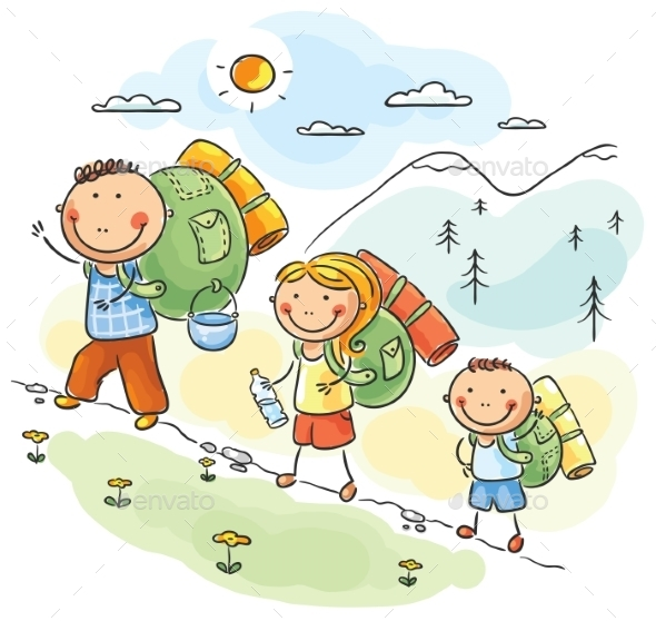 Family hiking in the Mountains - Sports/Activity Conceptual