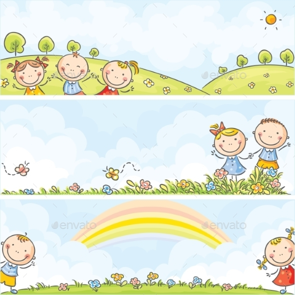 Banners with Children and Landscapes - Backgrounds Decorative