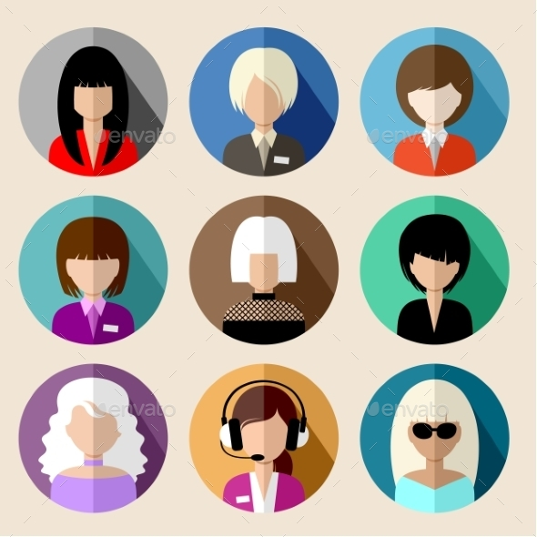 Set of Round Flat Icons with Women.  - People Characters