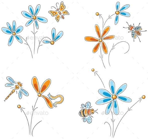 Flowers with Insects - Animals Characters