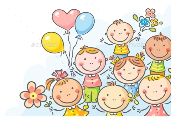Kids with Balloons and Flowers - Birthdays Seasons/Holidays