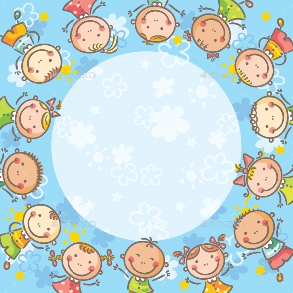 Frame with Children - Backgrounds Decorative