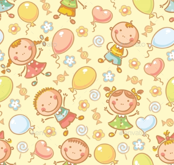 Seamless Pattern with Kids and Balloons - Patterns Decorative