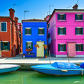 Venice landmark, Burano island canal, colorful houses and boat, - PhotoDune Item for Sale
