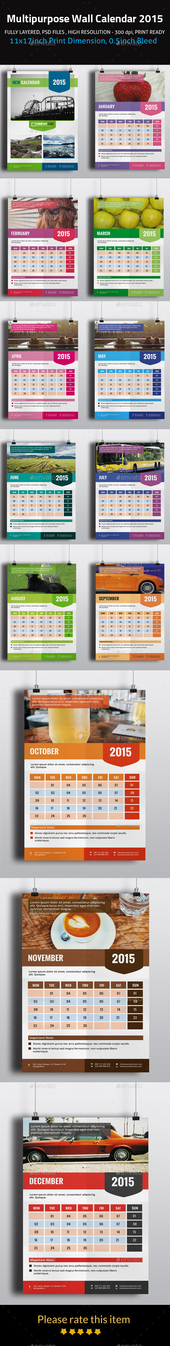 Multipurpose Wall Calendar 2015 - Calendars Stationery