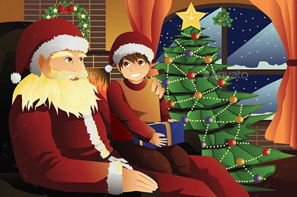 Santa Claus Talking with a Kid on his Lap - Christmas Seasons/Holidays