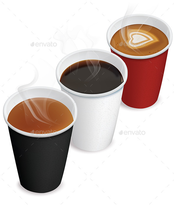 Tea, Cappuccino, Coffee in Paper Cups - Man-made Objects Objects
