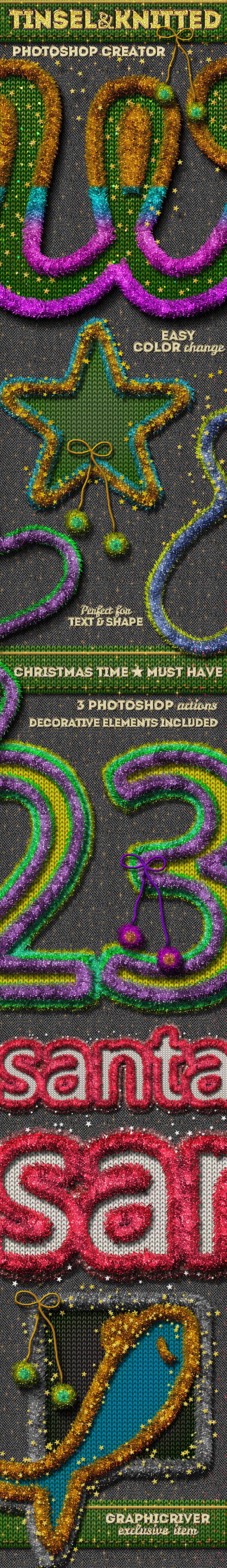 Christmas Tinsel and Knitted Photoshop Action - Utilities Actions