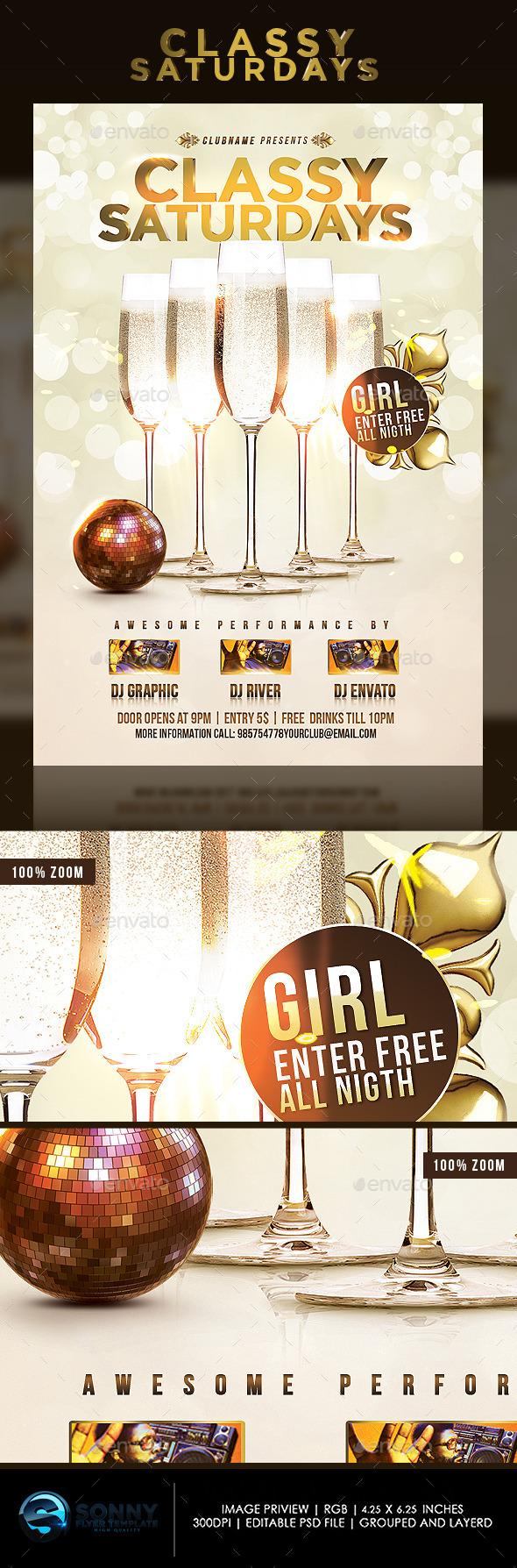 Classy Saturdays Party - Flyers Print Templates