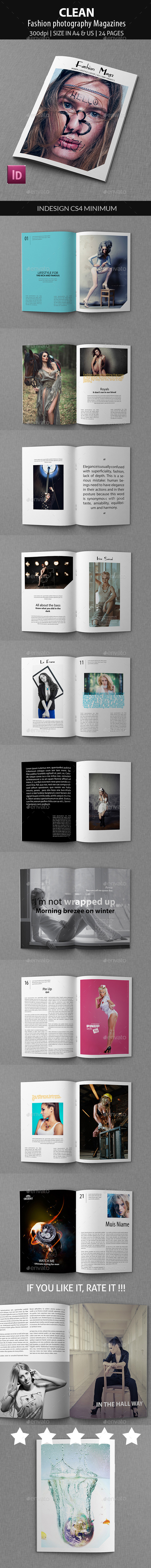 Clean - Fashion photography Magazines - Magazines Print Templates