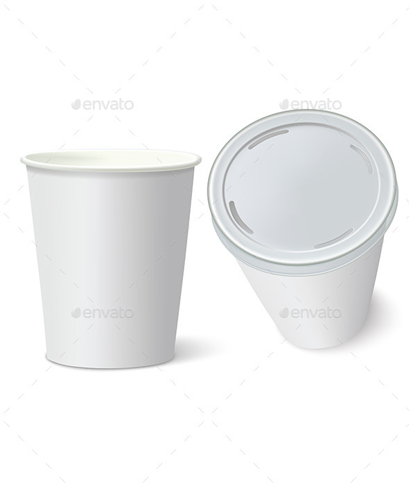 White Paper Cups - Food Objects
