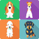 Set Dogs Icon Flat Design  - GraphicRiver Item for Sale