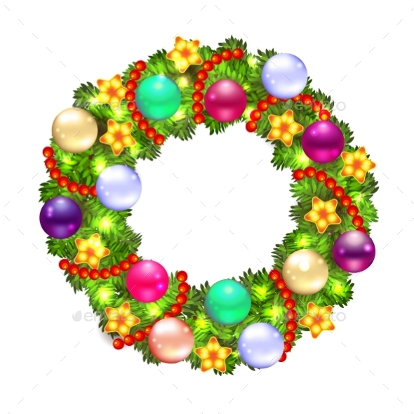 Christmas Wreath with Fir and Holly - Christmas Seasons/Holidays