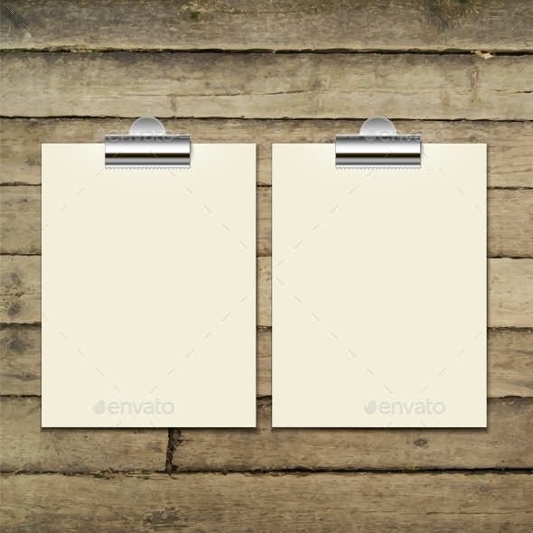 Paper Sheets on Wooden Tab - Backgrounds Decorative