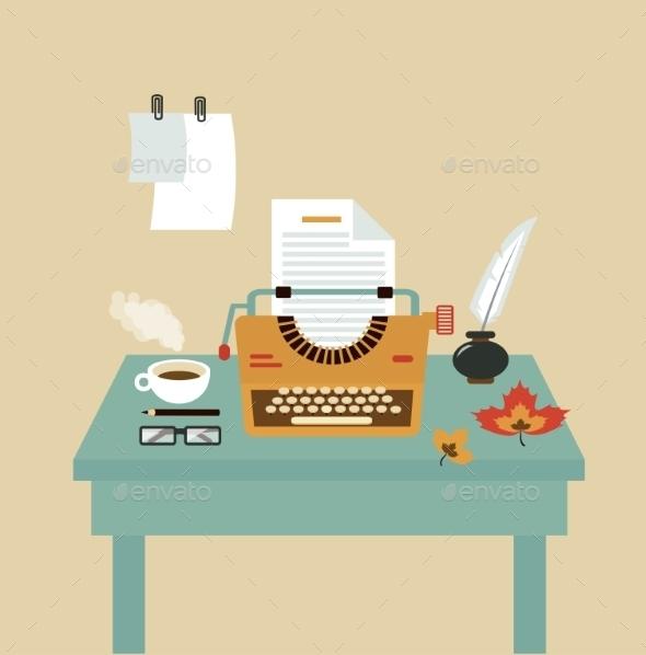 Desktop Typists Illustration - Patterns Decorative