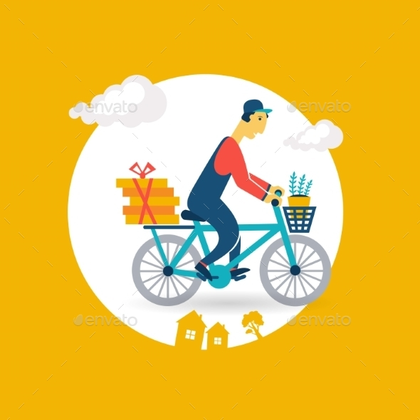 Courier Rides a Bicycle Icon - Sports/Activity Conceptual