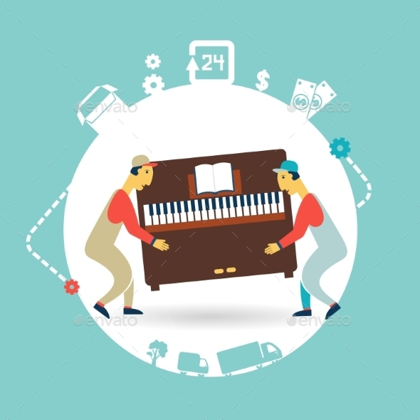 Movers Carry Furniture Piano Illustration - People Characters