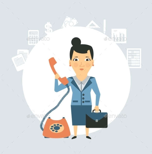 Accountant Talking on the Phone Illustration - People Characters