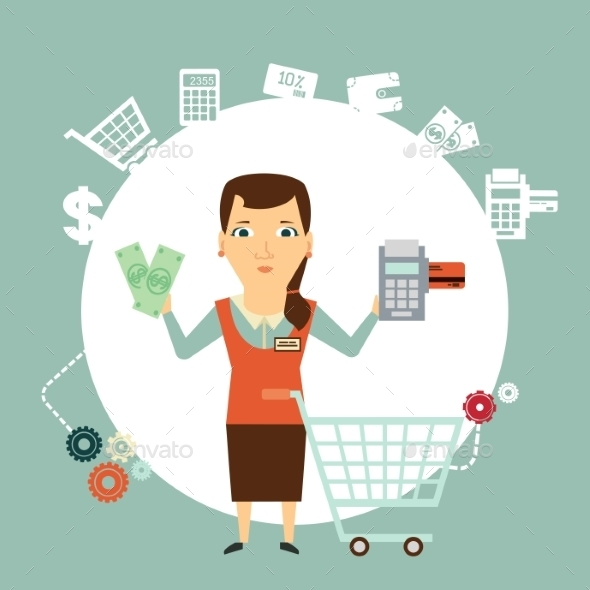 Seller Offers to Pay in Cash or Card Illustration - Retail Commercial / Shopping