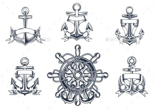 Vintage Marine and Nautical Icons - Objects Vectors