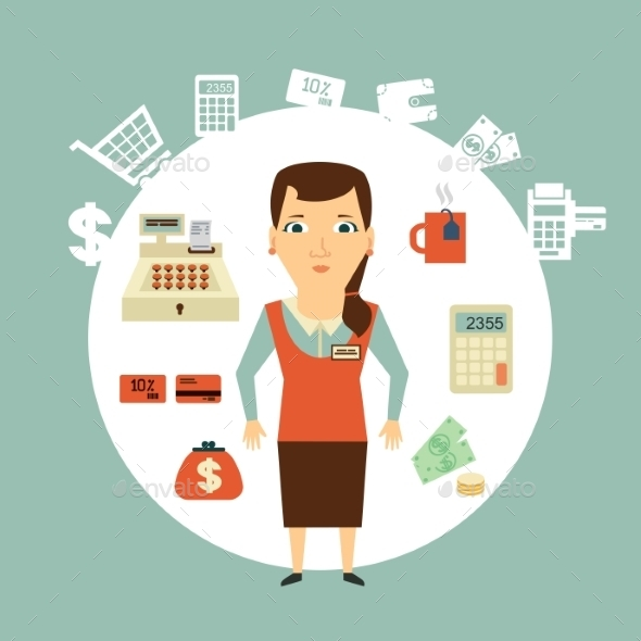 Grocery Store Cashier Illustration - Retail Commercial / Shopping