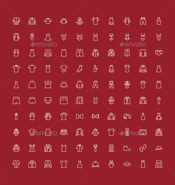 100 Men and Women Clothes Icons - Icons