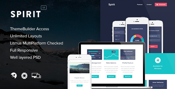 Spirit - Video Email (optional) + Themebuilder - Newsletters Email Templates