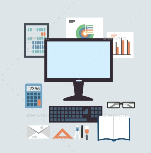 Desktop Accounting Illustration - Computers Technology