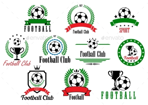Set of Football Badges - Sports/Activity Conceptual