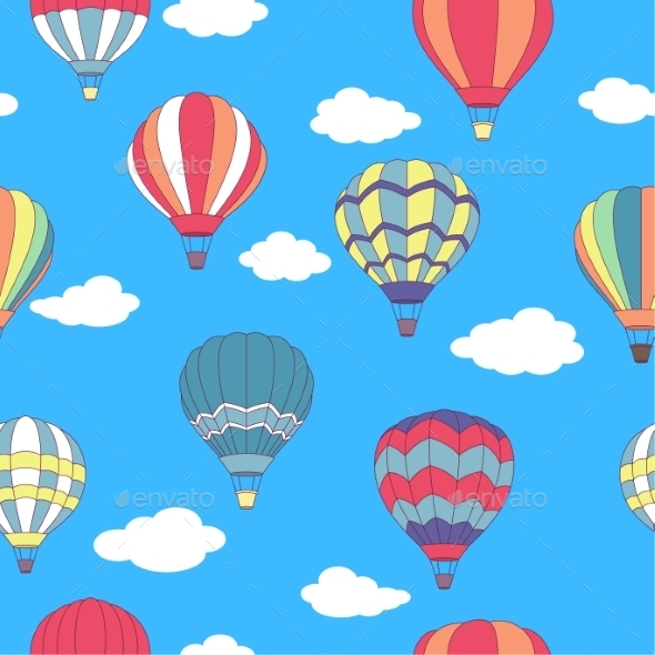 Seamless Pattern of Hot Air Balloons - Travel Conceptual