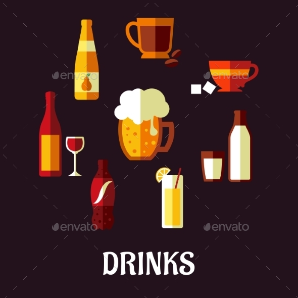 Drinks and Beverages Icons - Food Objects