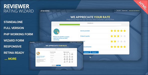 REVIEWER - Rating and Review Wizard HTML Template - CodeCanyon Item for Sale