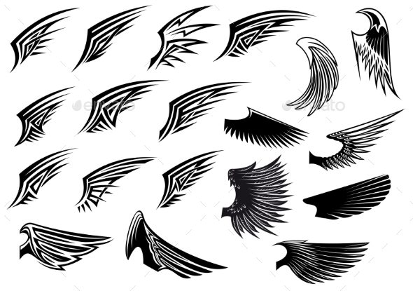 Set of Heraldic Bird Wings - Tattoos Vectors