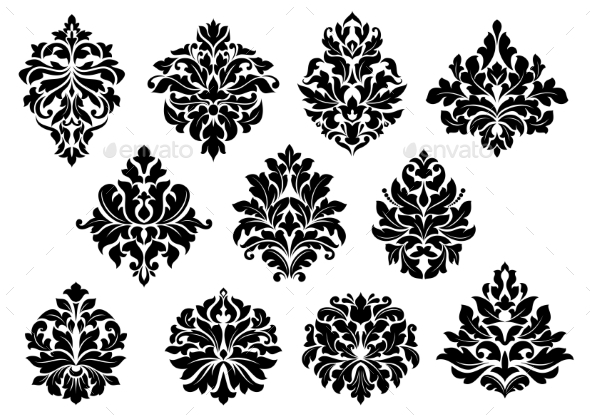Set of Floral Motifs - Flourishes / Swirls Decorative