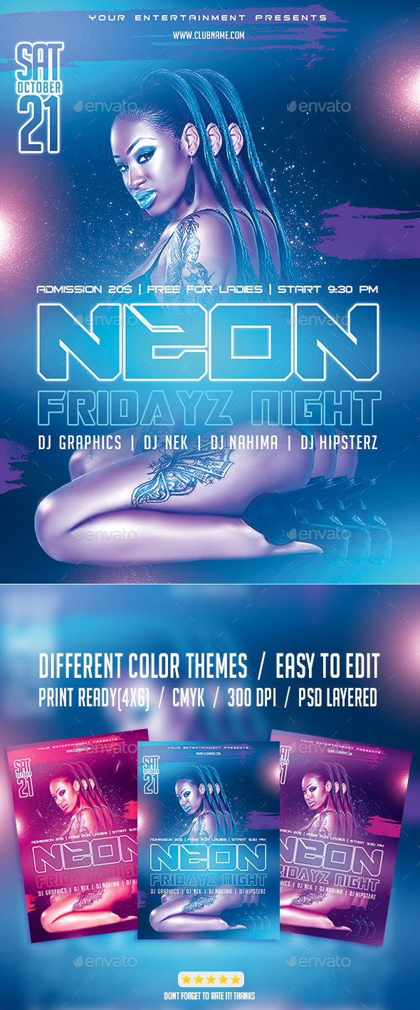 Neon Fridayz Night PSD Flyer Template - Events Flyers