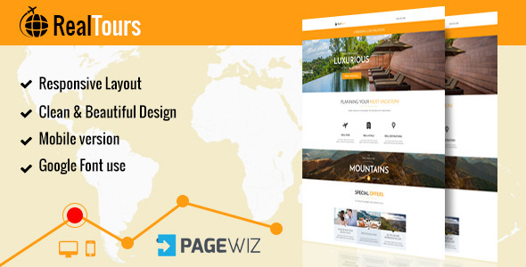 Download RealTour - Pagewiz Travel & Vacation Landing Page nulled version