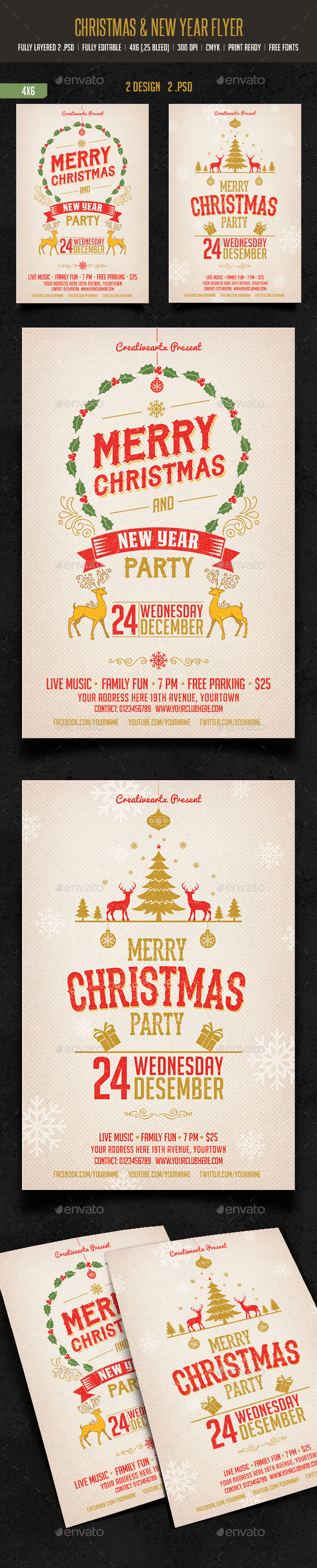 Merry Christmas & New Year Party - Events Flyers