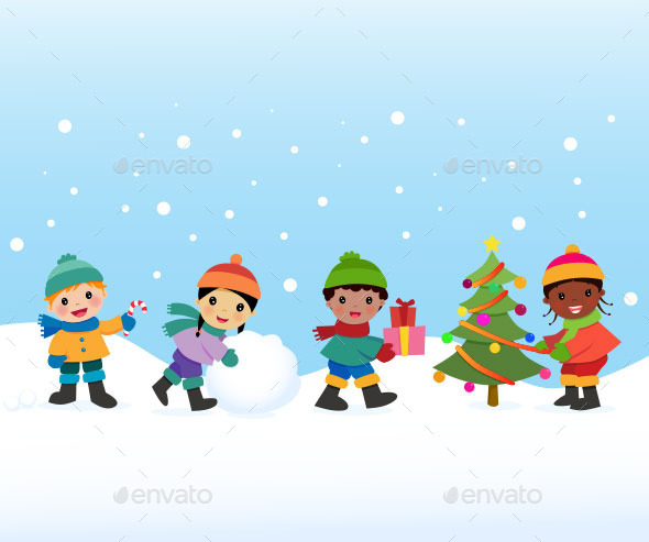 Children Celebrate the Winter Holidays - People Characters