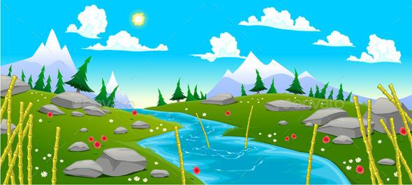Mountain Landscape with River - Landscapes Nature