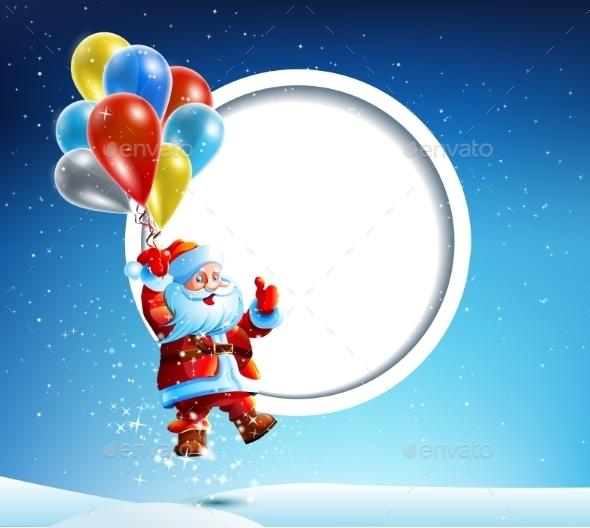Santa Claus Flies on a Balloon - Christmas Seasons/Holidays