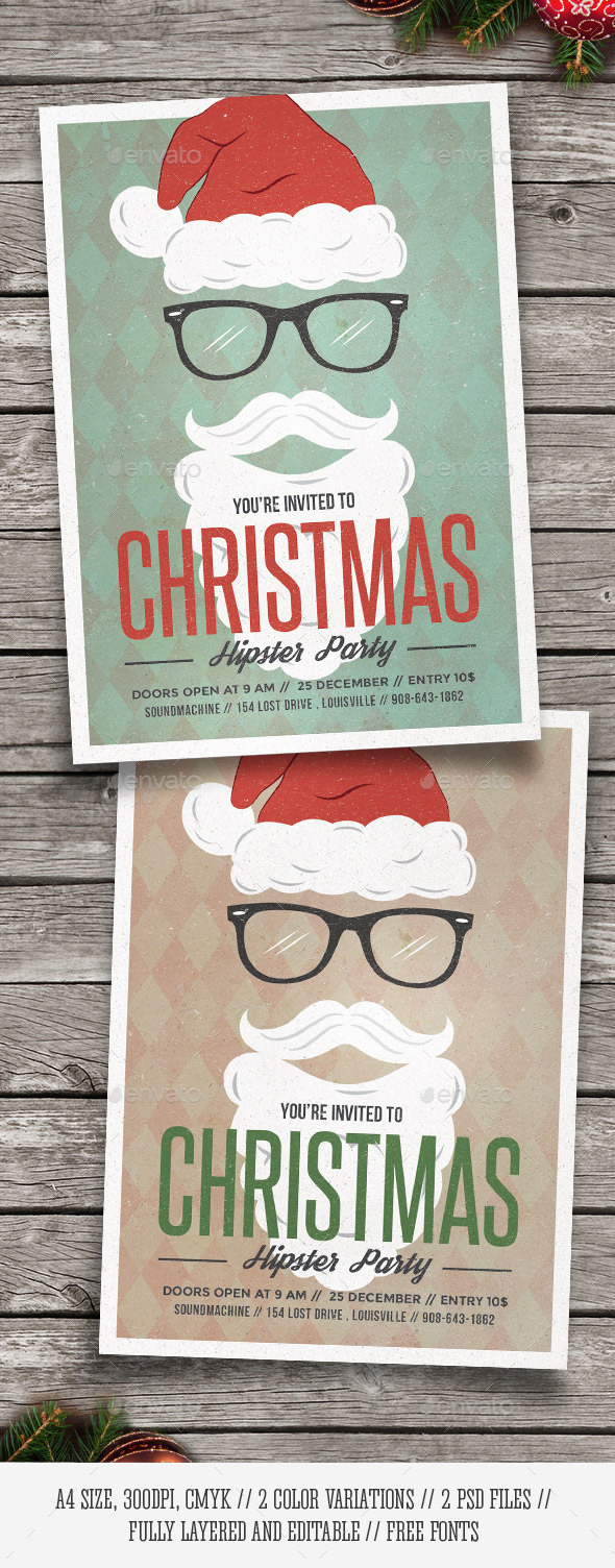 Hipster Santa - Christmas Party Flyer