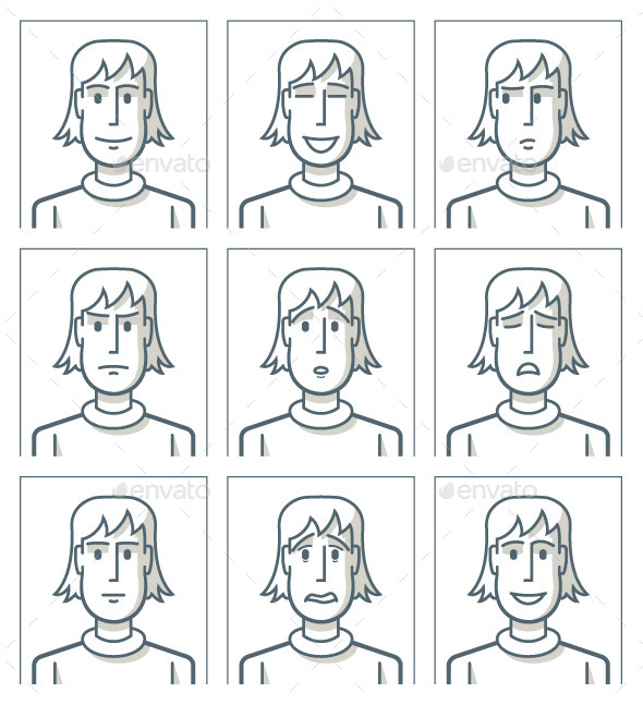 Facial Expressions of Young Man - People Characters