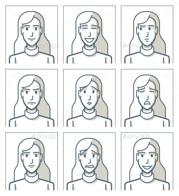 Facial Expressions of a Young Woman - People Characters