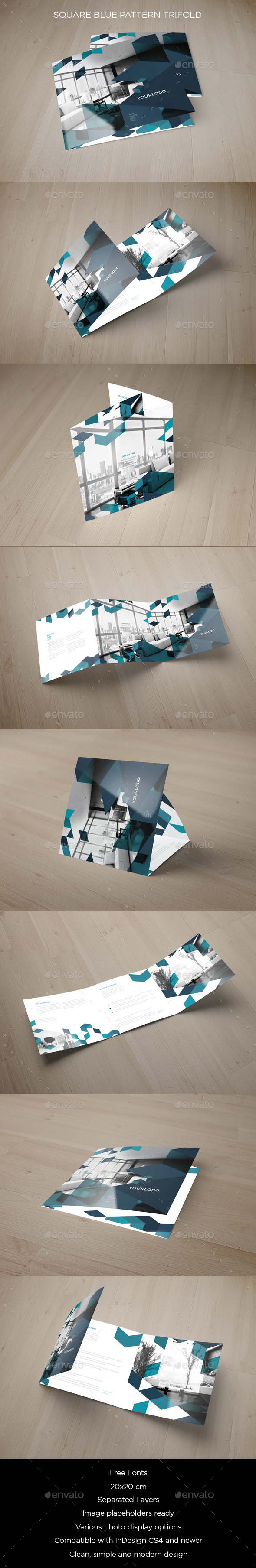 Square Blue Pattern Trifold - Brochures Print Templates